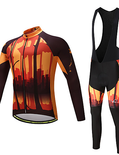 povoljno Odjeća za vožnju biciklom-Muškarci Dugih rukava Biciklistička majica s tregericama - Yellow / Black Bicikl Kompleti odjeće, Pad 3D, Quick dry, Izzadás-elvezető