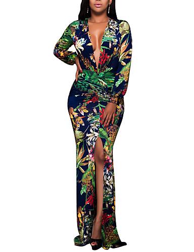 levne Maxi šaty-Dámské Větší velikosti Párty Klub Cikánský Bodycon Šaty - Květinový, Tisk Maxi Hluboké V / Sexy / Štíhlý