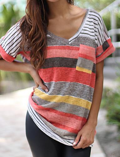 billige T-skjorter til damer-V-hals T-skjorte Dame - Fargeblokk, Lapper Ut på byen Blå
