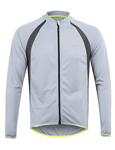 povoljno Odjeća za vožnju biciklom-Arsuxeo Muškarci Dugih rukava Biciklistička majica Svjetlo žuta Obala Bijela Kolaž Bicikl Biciklistička majica Majice Brdski biciklizam biciklom na cesti Reflektirajuće trake Sportski 100% poliester