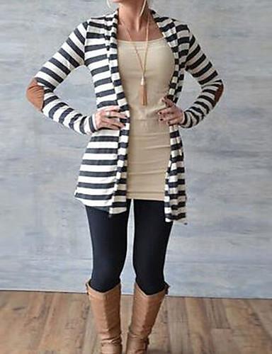billige Dametopper-Dame Ferie Stripet / Fargeblokk Langermet Løstsittende Normal Cardigan Genserjumper, Rund hals Vår / Høst Svart S / M / L / fin Stripe