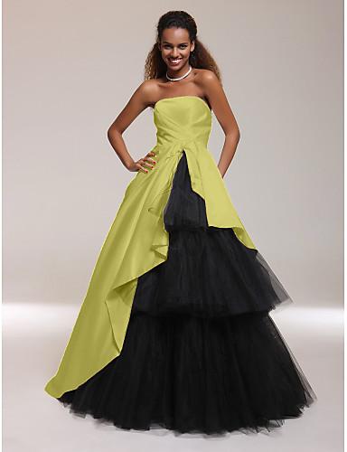 levne Šaty pro slavnostní příležitosti-Plesové šaty Bez ramínek / Rovný výstřih Na zem Satén / Tyl Šaty s Boční řasení podle TS Couture®