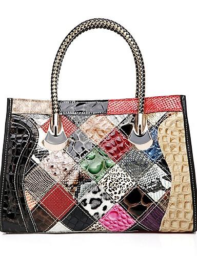 preiswerte Elegante Damen-Handtaschen-Damen Kombination Rindsleder Tragetasche Regenbogen