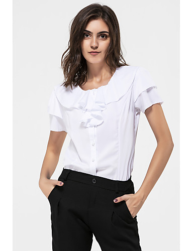 cheap Women's Tops-Women's Daily Weekend Plus Size Shirt - Solid Colored Ruffle White / Summer