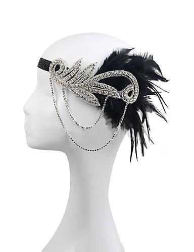 preiswerte Parykopfbedeckungen-Strass / Feder / Polyester Stirnbänder / Blumen mit 1 Hochzeit / Party / Abend Kopfschmuck