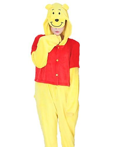 preiswerte PAJAMAJUMPSUITS-Erwachsene Kigurumi-Pyjamas Bär Pyjamas-Einteiler Flanell Gelb Cosplay Für Herren und Damen Tiernachtwäsche Karikatur Fest / Feiertage Kostüme