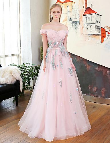 4fe65a99c819 Γραμμή Α Πριγκίπισσα Ώμοι Έξω Μακρύ Δαντέλα Σατέν Τούλι Δείπνο Πρόβας  Επίσημο Βραδινό Φόρεμα με Δαντέλα Σε επίπεδα Εφαρμοστό Λουλούδι 6173653  2019 –  229.99