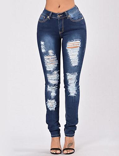 97c1a58392318 Femme Chic de Rue Slim Jeans Pantalon - Couleur Pleine Déchiré Bleu royal /  Sexy de 6076689 2019 à $19.79