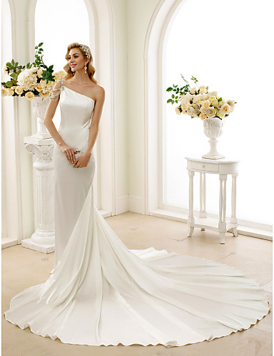 cheap Wedding Dresses-Mermaid / Trumpet One Shoulder Sweep / Brush Train Stretch Satin Regular Straps Simple / Sexy Modern / Elegant Wedding Dresses with Crystal / Beading 2020