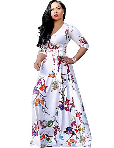 Maxi Dress Floral Print Women\'s Plus Size Beach Boho Swing Dress ...