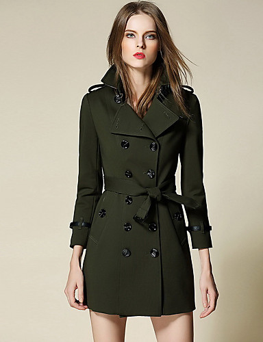 Women's Trench Coat - Solid Colored Shirt Collar / Lantern Sleeve