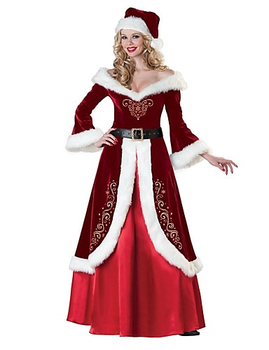cheap Christmas Costumes-Mrs.Claus Dress Costume Santa Clothes Adults' Women's Christmas New Year Masquerade Festival / Holiday Elastane Lycra Spandex Red Women's Carnival Costumes Vintage / Hat / Waist Belt / Velvet / Hat