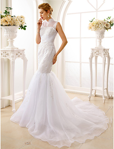 Trompeta / Sirena Cuello Alto Corte Encaje Organza Vestido de novia ...