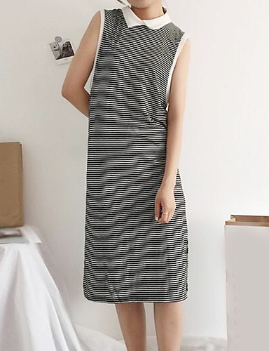 c26b7c51 Women's Casual / Daily Sheath Dress - Striped Shirt Collar Summer Cotton  Brown Black 6160952 2019 – $12.99