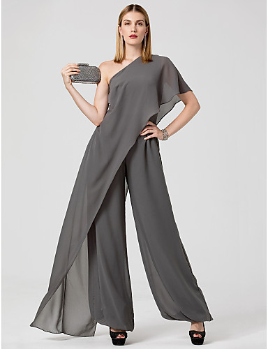 cheap Evening Dresses-Jumpsuits Sexy Grey Wedding Guest Formal Evening Dress One Shoulder Sleeveless Floor Length Chiffon with Draping 2020
