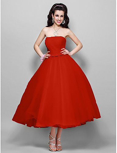 cheap Cocktail Dresses-Ball Gown 1950s Pink Prom Formal Evening Dress Strapless Sleeveless Tea Length Tulle with Bow(s) Ruched 2020