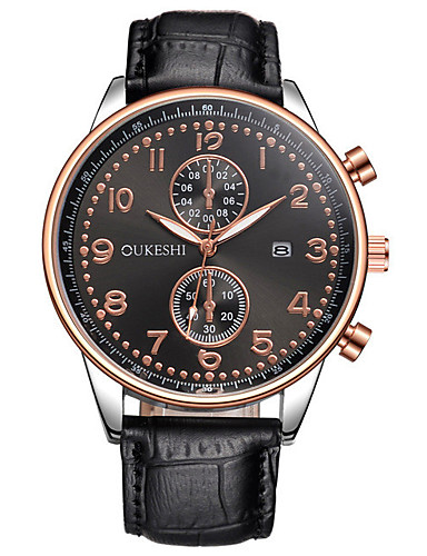 7469aea4da93 Men s Wrist Watch Quartz Black   Brown Calendar   date   day Large Dial  Analog Charm Luxury Casual Fashion Elegant - Black   Blue Brown   Gold White    Brown ...