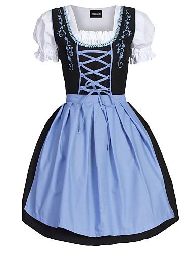cheap Oktoberfest-Oktoberfest Beer Dirndl Trachtenkleider Women's Dress Apron Bavarian Costume Green Blue Pink