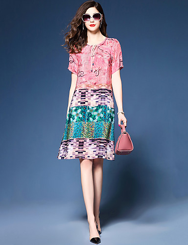 preiswerte Kleider aus Chiffon-Damen Übergrössen Party Ausgehen Lose Chiffon Kleid - Gespleisst Druck, Einfarbig Knielang