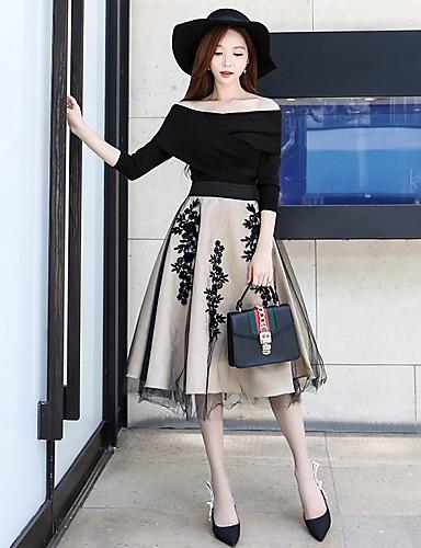 preiswerte Hosen & Röcke für Damen-Damen Retro Alltag Schultaschen Festtage Schaukel Röcke - Blumen Tüll Stickerei Blumen Beige S M L / Ausgehen