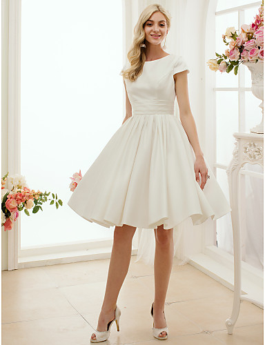 cheap Wedding Dresses-A-Line Jewel Neck Knee Length Satin Short Sleeve Formal / Simple / Casual Little White Dress Wedding Dresses with Sash / Ribbon 2020