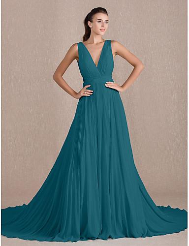 cheap Evening Dresses-A-Line Elegant Formal Evening Black Tie Gala Dress V Neck Sleeveless Chapel Train Georgette with Pleats 2020