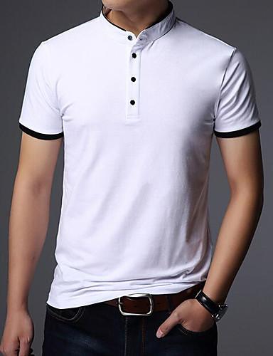 preiswerte Heißer, weißer Sommer-Herrn Solide Baumwolle T-shirt, Ständer Marineblau / Kurzarm