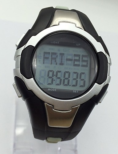 [$18 89] Men's Sport Watch Digital Watch Wrist watch Chinese Digital  Calendar Alarm Heart Rate Monitor Stopwatch Noctilucent Rubber Band Black