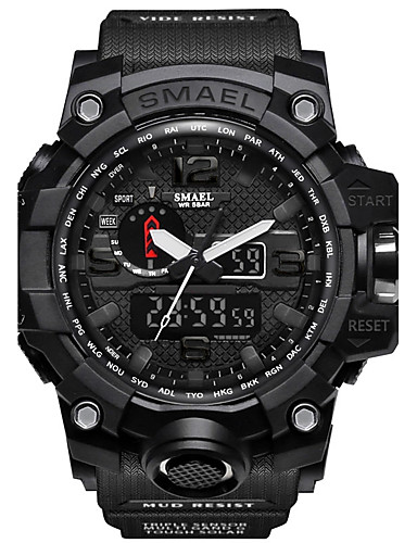 e560fdcada [$17.84] SMAEL Men's Sport Watch Military Watch Digital Watch Japanese  Digital Quilted PU Leather Silicone Black / Red / Orange 50 m Water  Resistant / ...