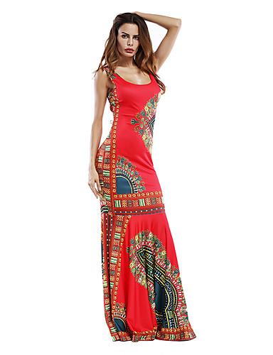 levne Maxi šaty-Dámské Párty Dovolená Jdeme ven Vintage Na běžné nošení Shift Pouzdro Šaty - Geometrický, Nabírané šaty Maxi Hluboké U / Plážové