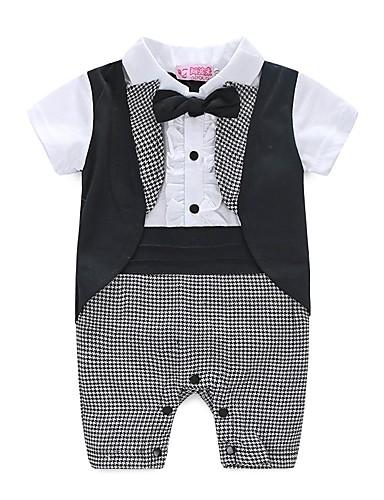 preiswerte Kinderkleidung-Baby Jungen Kariert Plaid / Karomuster / Modisch / Blumen Pflanzen Kurzarm Anzug & Overall Weiß