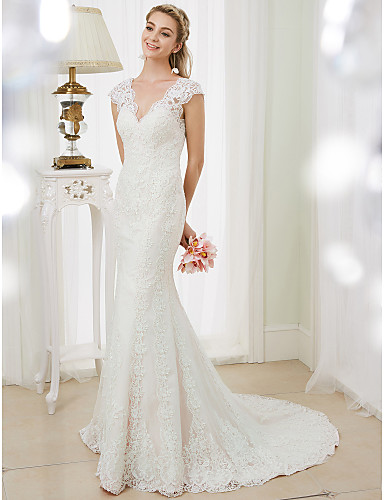 cheap Wedding Dresses-Mermaid / Trumpet Wedding Dresses V Neck Court Train Corded Lace Cap Sleeve Open Back Floral Lace with Appliques 2020