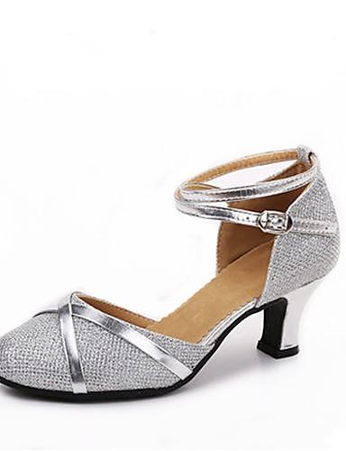 billige Shoes & Bags Must-have-Dame Dansesko Glitter Moderne sko Tvinning Høye hæler Kustomisert hæl Kan spesialtilpasses Sølv / Sølv / Svart / Svart og Gull / Innendørs / EU40