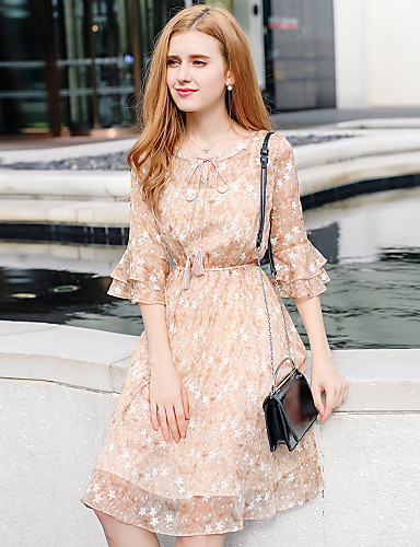 80330a641d54 Women s Flare Sleeve Daily   Going out Sophisticated Petal Sleeves A Line    Sheath   Chiffon Dress - Floral Ruffle   Ruched Summer Light Brown M L XL  ...