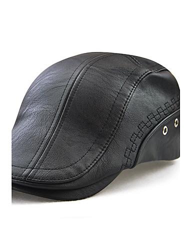 preiswerte Herrenhüte-Herrn Aktiv Draußen,PU Barett-Bestickt Solide Schwarz Braun