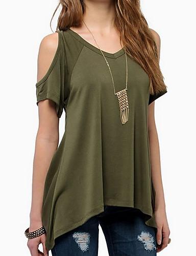 billige T-skjorter til damer-Bomull V-hals T-skjorte Dame - Ensfarget Ut på byen Svart / Utskjæring