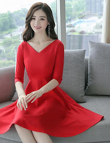 Women S Casual Daily A Line Midi Dress Solid V Neck 3 4 Length