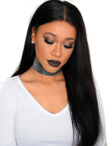 povoljno Perike s ljudskom kosom-Remy kosa Full Lace Perika Kardashian stil Ravan kroj Perika 180% Gustoća kose Prirodna linija za kosu Afro-američka perika 100% rađeno rukom Žene Kratko Srednja dužina Dug Perike s ljudskom kosom