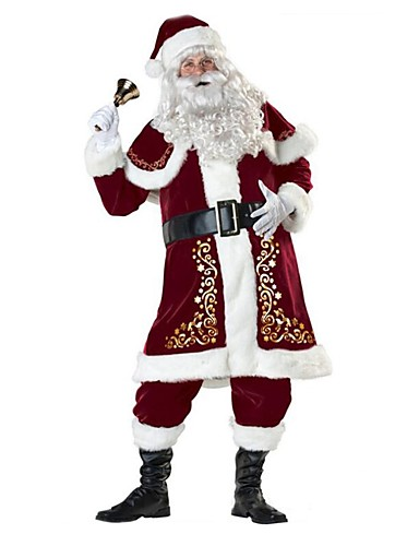 cheap Christmas Costumes-Santa Suit Santa Claus Costume Outfit Adults' Men's Christmas New Year Masquerade Festival / Holiday Terylene Elastane Red Carnival Costumes Vintage