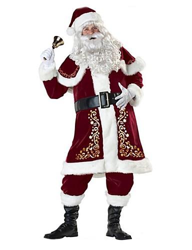 رخيصةأون أزياء عيد الميلاد المجيد-بدل سانتا بابا نويل كوستيوم ملابس للبالغين رجالي كريسماس عيد الميلاد السنة الجديدة حفلة تنكرية عطلة / عيد تيريليني Elastane أحمر كرنفال ازياء عتيقة