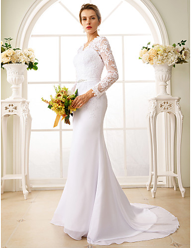 cheap Wedding Dresses-Mermaid / Trumpet V Neck Court Train Chiffon / Floral Lace Long Sleeve Sexy See-Through / Backless / Illusion Sleeve Wedding Dresses with Sash / Ribbon / Appliques 2020