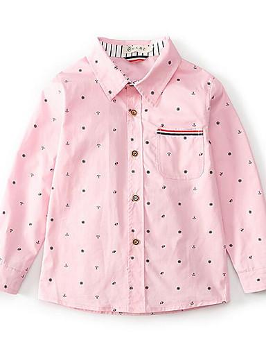 preiswerte Ausverkauf-Kinder Jungen Punkt Punkt Langarm Baumwolle Hemd Rosa