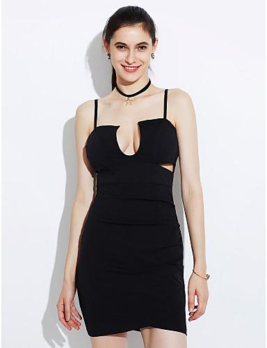 levne Sexy šaty-Dámské Párty Klub Bodycon Šaty - Jednobarevné, Volná záda Nabírané šaty Mini Ramínka