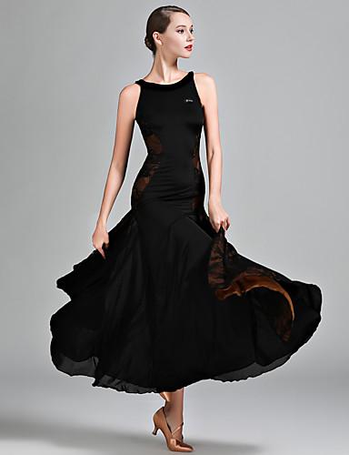 cheap Ballroom Dancewear-Ballroom Dance Dress Lace Women's Performance Sleeveless Natural Lace Milk Fiber