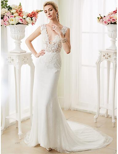 5ced437f7 Trompeta   Sirena Escote en Pico Corte Encaje Vestidos de novia ...
