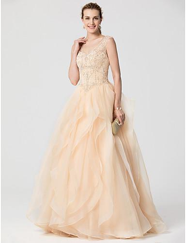 11a89d7fef34 Βραδινή τουαλέτα Λαιμόκοψη V Ουρά Οργάντζα Επίσημο Βραδινό Φόρεμα με  Χάντρες Με διαδοχικές σούρες με TS Couture® 5936855 2019 –  199.99