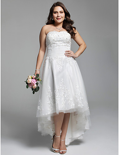 cheap Wedding Dresses-A-Line Strapless Asymmetrical Lace / Tulle Strapless Little White Dress / Open Back Wedding Dresses with Ruched / Beading / Appliques 2020