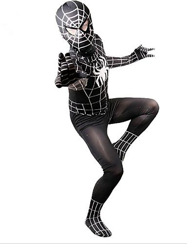 povoljno Maske i kostimi-Zentai odijela Zentai odijela s uzorkom Izgledi Super Heroes Pauci Dječji Spandex Lycra spandex Cosplay Nošnje Spol Crn Print Božić Halloween Karneval / Odijelo za kožu / Visoka elastičnost