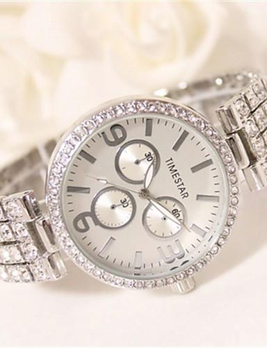 Mulheres Simulado Diamante Relógio Quartzo Impermeável Lega Banda Brilhante Prata