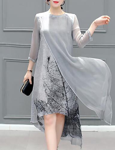 preiswerte Damen Kleider-Damen Übergrössen Ausgehen Chiffon Kleid - Mehrlagig, Grafik Asymmetrisch